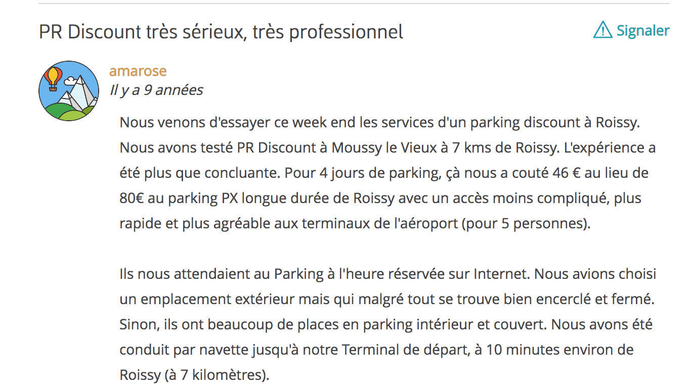 Avis parking roissy discount Routard